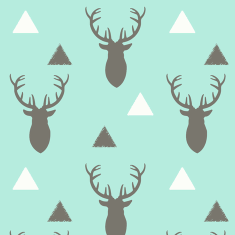 Gray White Aqua Deer Heads and Triangles fabric by googoodoll on Spoonflower - custom fabric