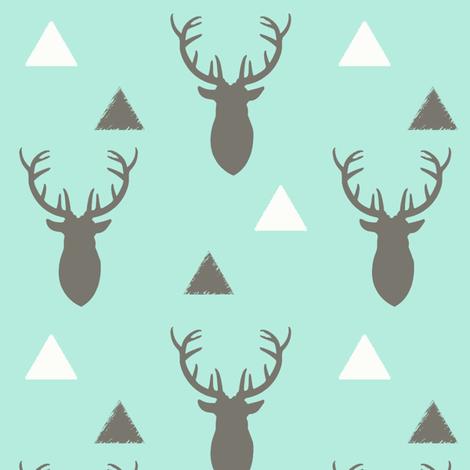 Gray White Aqua Deer Heads and Triangles fabric by googoodoll on Spoonflower - custom fabric