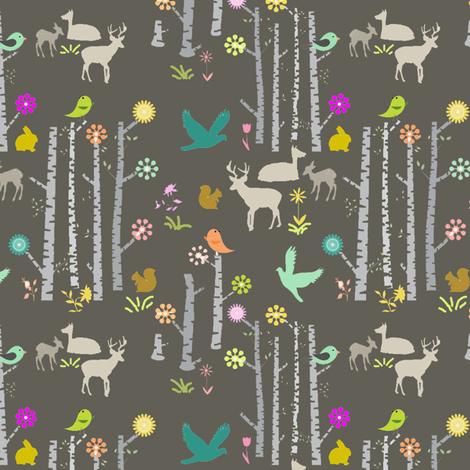 Woodland Deer at Night fabric by googoodoll on Spoonflower - custom fabric