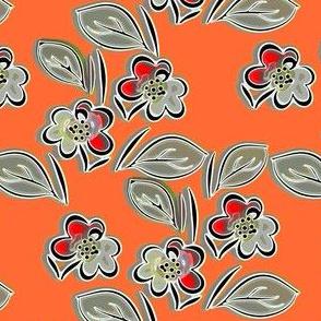 Folk floral orange