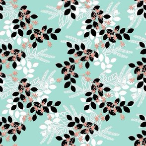 Floral in Mint Coral and Black