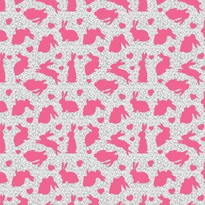Bunnies + Hearts - Pink on Sticks