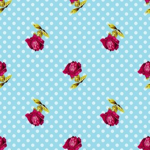 Roses On Blue Polka Dots