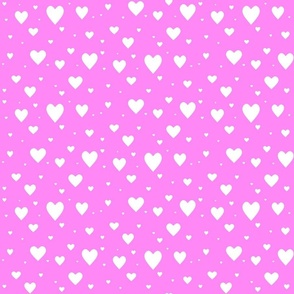 Hearts - white on pink