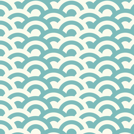 Japanese wave - aqua & cream fabric by marina_grzanka on Spoonflower - custom fabric