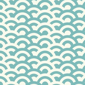 Japanese wave - aqua & cream