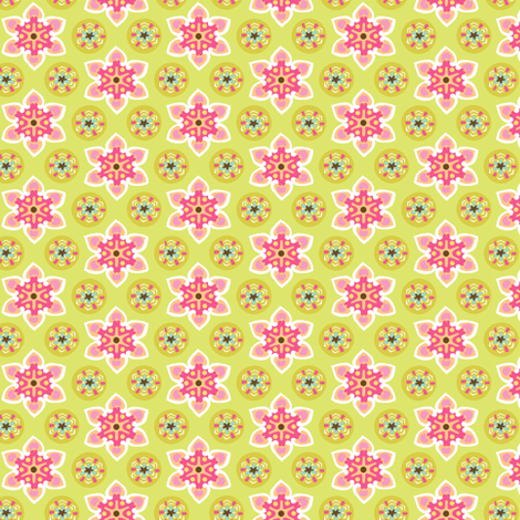 Starflower green and raspberry fabric by luna_bella on Spoonflower - custom fabric