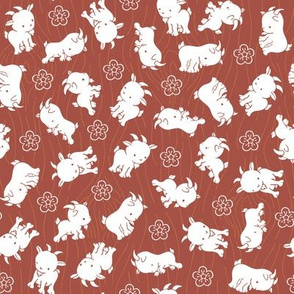 Ditsy Sheep Goat - Marsala