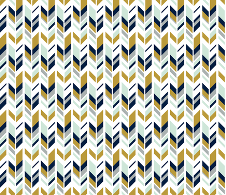 feather // mustard & navy fabric by littlearrowdesign on Spoonflower - custom fabric