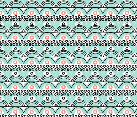 scallops and squiggles-mint fabric by ottomanbrim on Spoonflower - custom fabric
