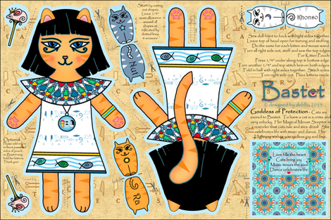 Bastet Plushie Doll ♥ fabric by designed_by_debby on Spoonflower - custom fabric