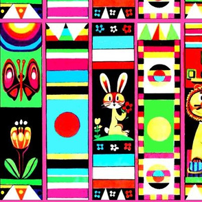 rainbows butterfly butterflies tulips triangles stripes flowers sun bunny bunnies lions colorful collage abstract vintage retro kitsch