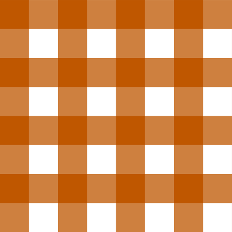 Spiced Pumpkin  and White ~ Gingham  fabric by peacoquettedesigns on Spoonflower - custom fabric