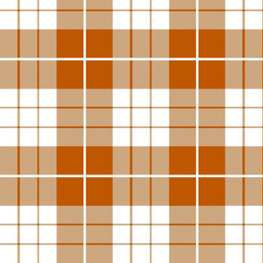Spiced Pumpkin  and White ~ Traditional Plaid
