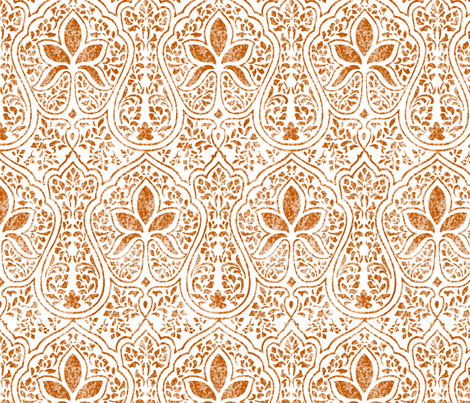 Spiced Pumpkin and White ~ Rajkumari Batik  fabric by peacoquettedesigns on Spoonflower - custom fabric
