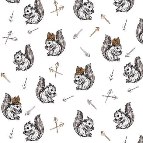 squirrels and feathers  fabric by miamea on Spoonflower - custom fabric
