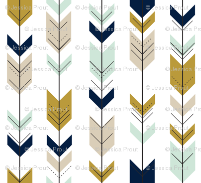 Fletching Arrows (small scale)  // Mint/Tan/Gold/Navy