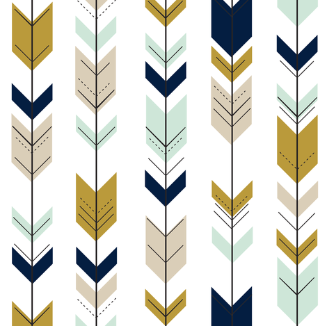 Fletching Arrows (small scale)  // Mint/Tan/Gold/Navy  fabric by littlearrowdesign on Spoonflower - custom fabric