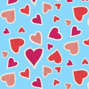Ditsy hearts on blue