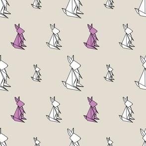 Origami Bunnies - SML White & Purple on Tan