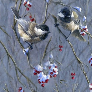 Winter Chickadees with Snow and Berries
