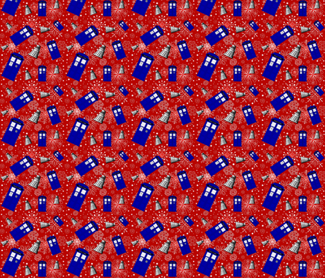 Police Box Attack_Red  Snowflake med fabric by lilbabythangs on Spoonflower - custom fabric