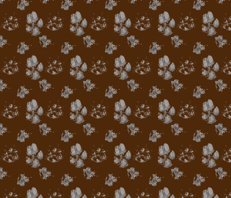 Muddy paw prints - chocolate fabric by rusticcorgi on Spoonflower - custom fabric