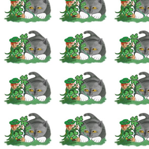 Leprechaun_Picks_a_Four_Leaf_Clover_for_Kitten_-_Spoonflower