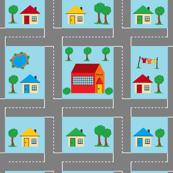 Little town play mat - red