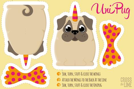 Unicorn-Pug Plush Pattern fabric by gila_be on Spoonflower - custom fabric
