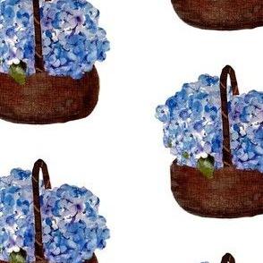 a basket of hydrangeas