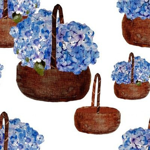 baskets and hydrangeas
