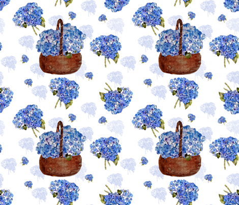 hydrangea bouquets and basket fabric by karenharveycox on Spoonflower - custom fabric