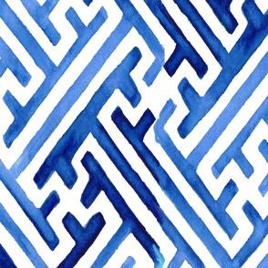 Blue Greek Key Paper