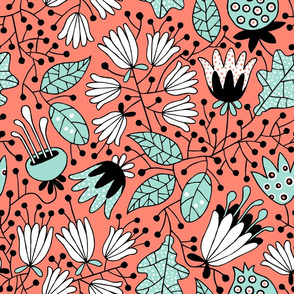 Flowers in coral en mint