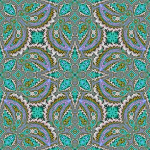 Fractal Ruffles and Leaves, Aqua and Orchid