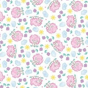 Little Pink Sheep on a Sunny Day