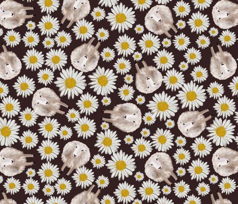 sheep and dasies on brown fabric by kociara on Spoonflower - custom fabric