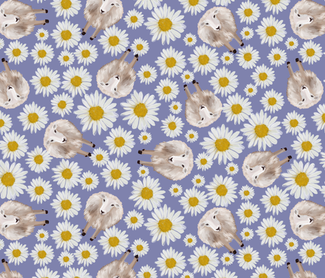 sheeps and dasies on violet fabric by kociara on Spoonflower - custom fabric