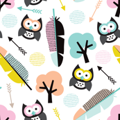 Colorful summer owl feathers tree and arrows woodland illustration pattern design