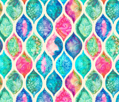 Watercolor Ogee Patchwork Pattern fabric by micklyn on Spoonflower - custom fabric