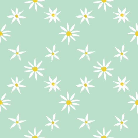 Daisy Trellis on mint green fabric by crumpetsandcrabsticks on Spoonflower - custom fabric