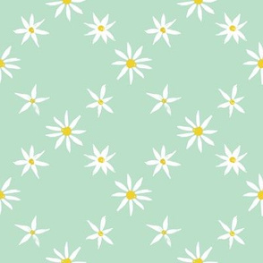 Daisy Trellis on mint green