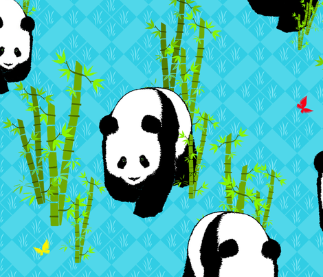 Panda Parade Large Scale fabric by bags29 on Spoonflower - custom fabric