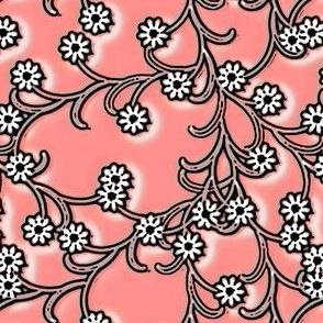 Folk floral in coral pink