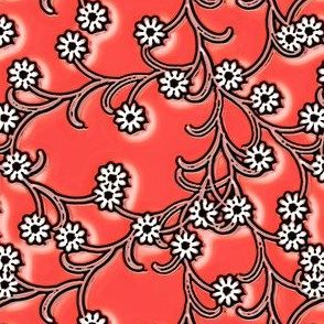 Folk Floral in coral