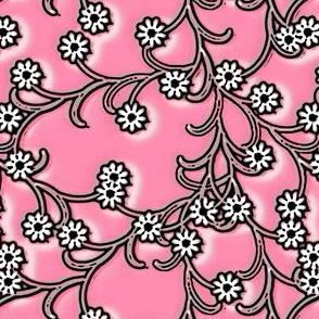 Folk Floral cotton candy pink