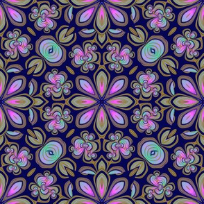 Tole Flowers, Purplish Navy