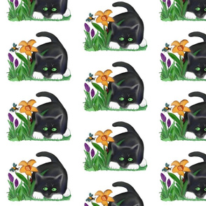 Spring_Flower_Gardenentices_a_Bee_and_a_Kitten_-_Spoonflower