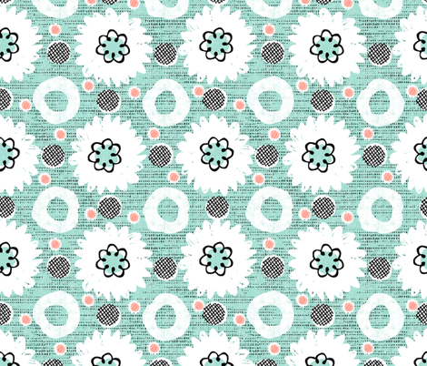 Flowers and dots-mint grunge  fabric by ottomanbrim on Spoonflower - custom fabric